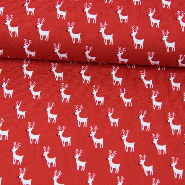 Baumwollstoff Weihnachten Rentiere rot