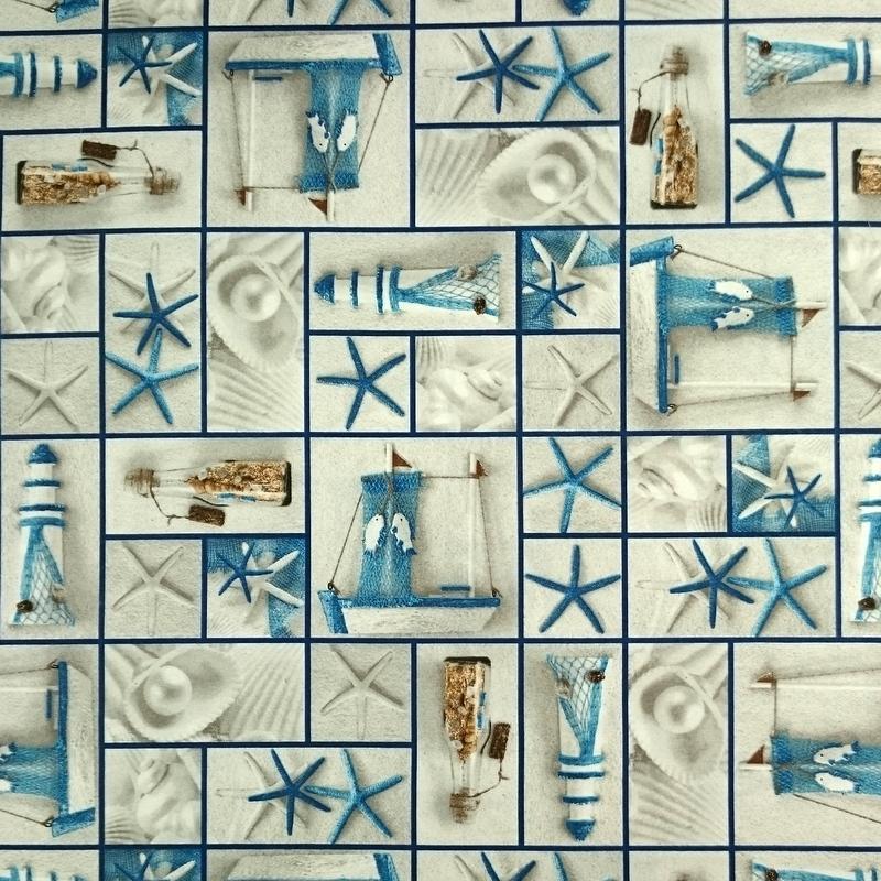 Dekostoff nautische Motive Patch 140cm grau-rot-blau