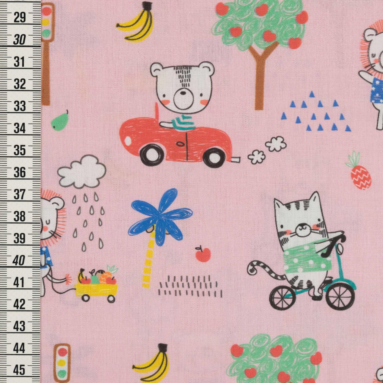 Baumwollstoff Tierkids im Strassenverkehr hellblau Kinderstoff Preis=0,5m